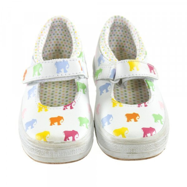 KEDS WHITE SHOES WITH ELEPHANTS *SIZE TODDLER 8, VGU - VERY MINOR DISCOLORATION