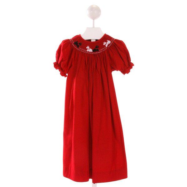 COLLECTION BEBE  RED   SMOCKED DRESS WITH RUFFLE