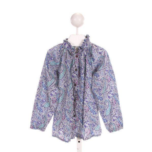 BONTON  MULTI-COLOR  FLORAL PRINTED DESIGN CLOTH LS SHIRT WITH RUFFLE