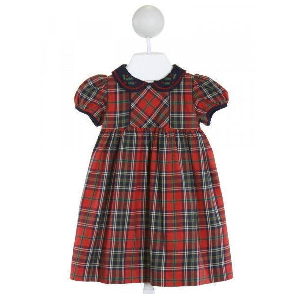 SOPHIE & LUCAS  RED  PLAID EMBROIDERED DRESS