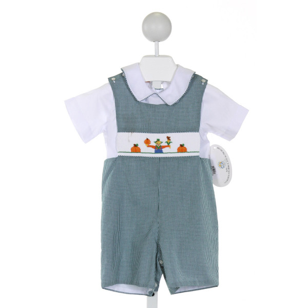SMOCKED GIRAFFE  GREEN  GINGHAM SMOCKED JOHN JOHN/ SHORTALL