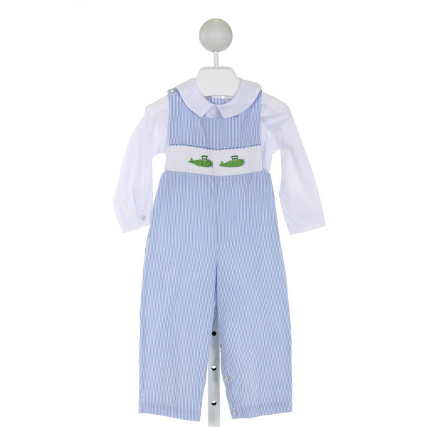 SILLY GOOSE  LT BLUE  STRIPED SMOCKED LONGALL/ROMPER