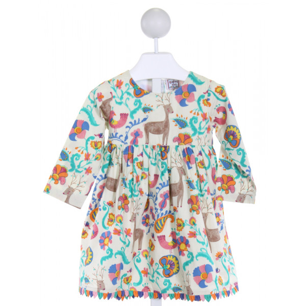 COTTON KIDS  IVORY  FLORAL PRINTED DESIGN DRESS