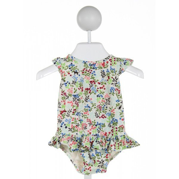 GAP  IVORY  FLORAL  1-PIECE SWIMSUIT WITH RUFFLE
