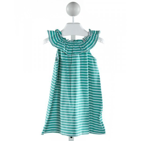 KELLY'S KIDS  GREEN  STRIPED  KNIT DRESS WITH RUFFLE