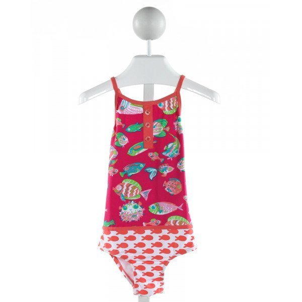 HATLEY  HOT PINK   PRINTED DESIGN 1-PIECE SWIMSUIT
