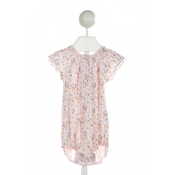 FEATHER BABY  LT PINK  PRINT SMOCKED BUBBLE