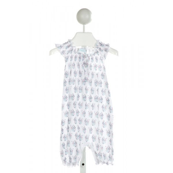 FEATHER BABY  OFF-WHITE  FLORAL SMOCKED KNIT ROMPER WITH RUFFLE