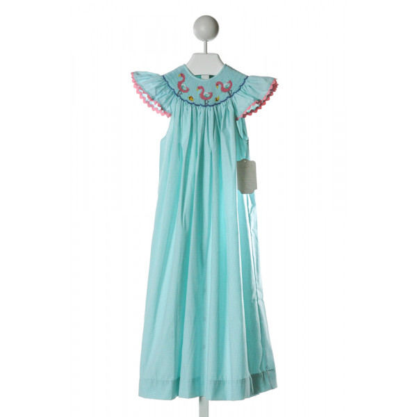 REMEMBER NGUYEN  AQUA  GINGHAM SMOCKED DRESS WITH RIC RAC