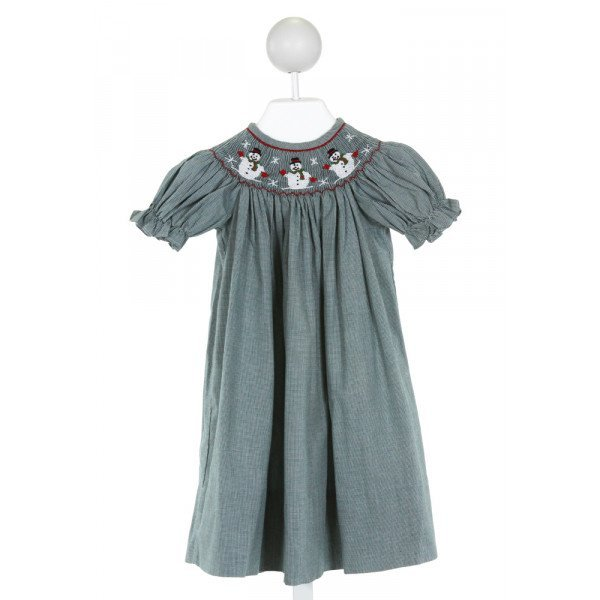 TESS TOO BY LOLLYPOP KIDS  GREEN   SMOCKED DRESS WITH RUFFLE