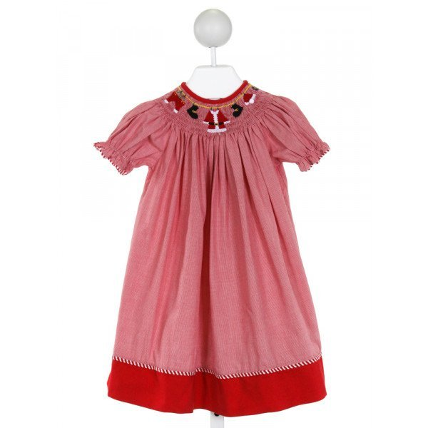 SILLY GOOSE  RED  MICROCHECK SMOCKED DRESS WITH RUFFLE