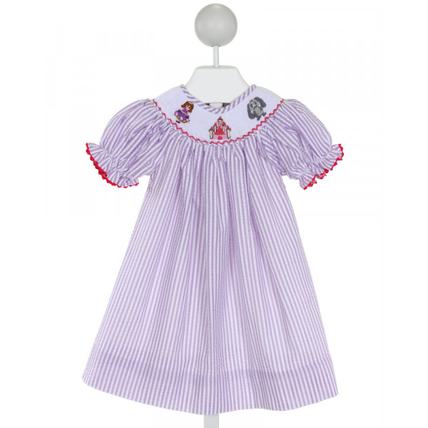 THE SMOCKING BUG  PURPLE SEERSUCKER STRIPED SMOCKED DRESS WITH RIC RAC