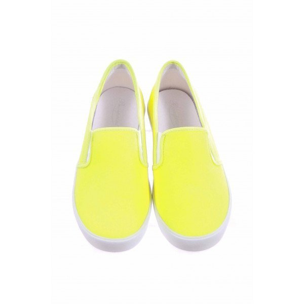 BONPOINT NEON YELLOW SLIP-ON CANVAS TENNIS SHOES *NWT