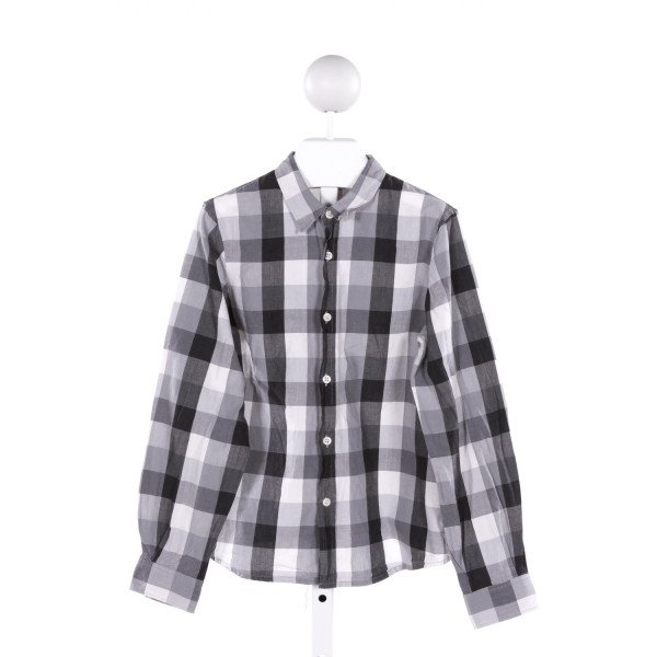 BONPOINT  BLACK  PLAID  KNIT LS SHIRT