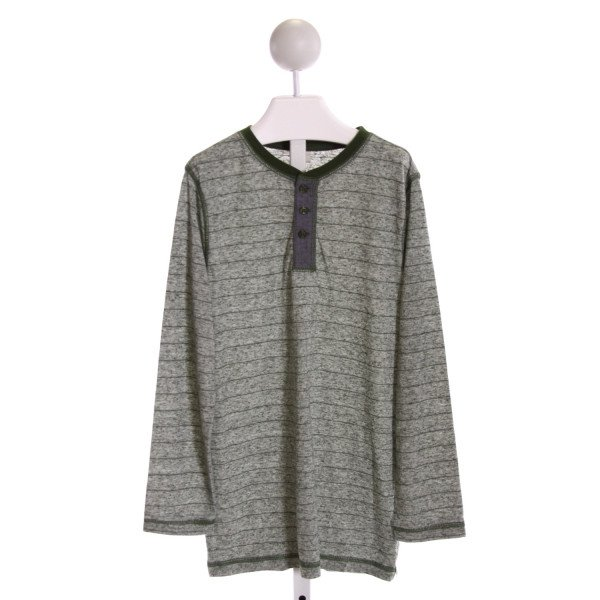 TUCKER & TATE  GREEN  STRIPED PRINTED DESIGN KNIT LS SHIRT