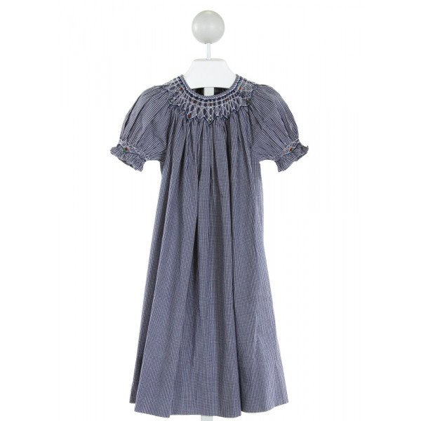 SWEET ANGELA  BLUE  GINGHAM SMOCKED DRESS WITH RUFFLE