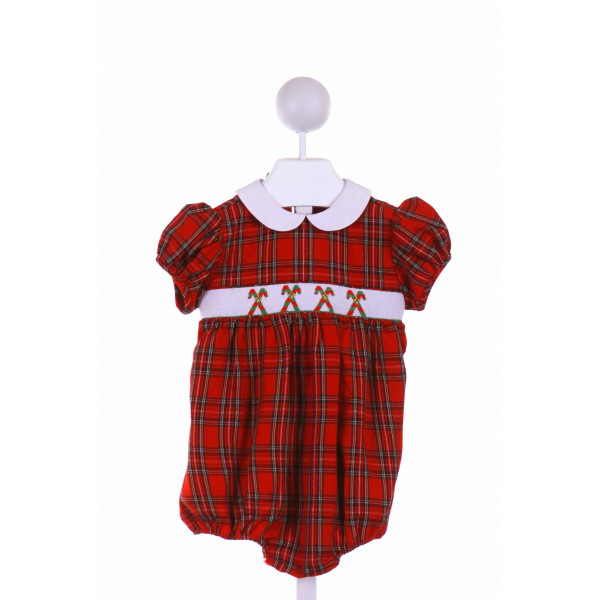 COLLECTION BEBE  RED  PLAID SMOCKED BUBBLE