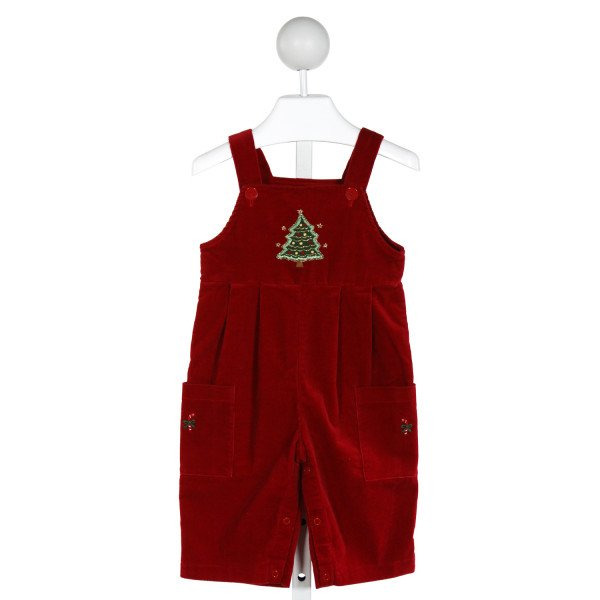 FANTAISIE KIDS  RED CORDUROY  SMOCKED LONGALL/ROMPER