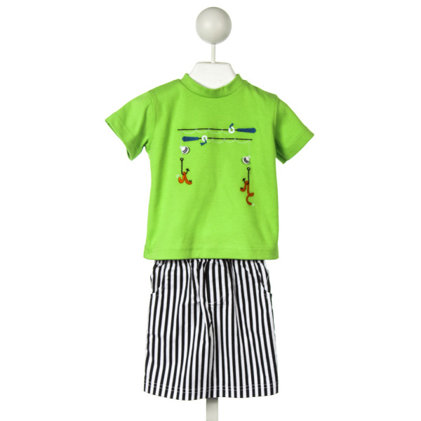 WALLY & WILLIE LIME GREEN AND BLACK STRIPED SHORT SET WITH FISHING APPLIQUE