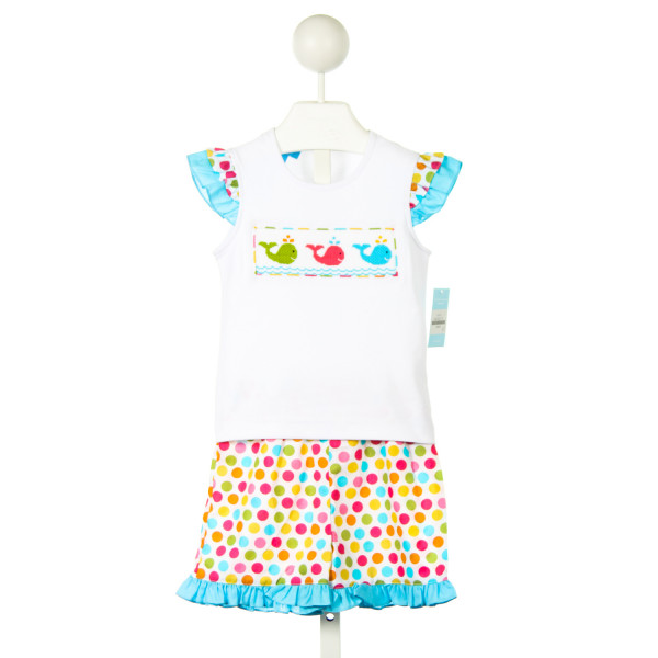 ANAVINI WHITE KNIT SMOCKED WHALES TOP WITH MATCHING COLORFUL POLKA DOT RUFFLE SHORTS