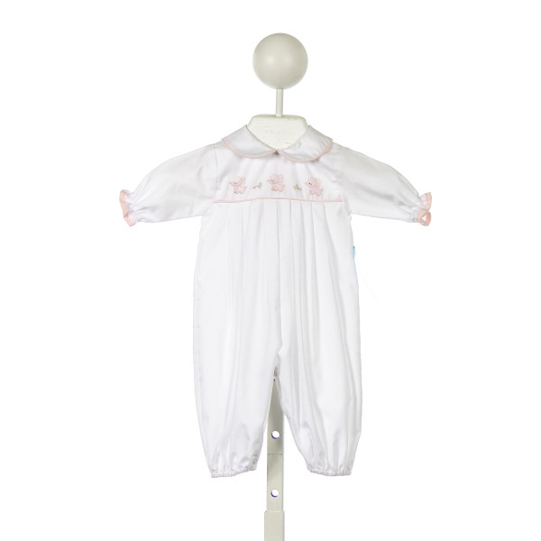 AURALUZ WHITE ROMPER WITH PINK EMBROIDERED ELEPHANTS AND PINK PIPING *PREEMIE SIZE