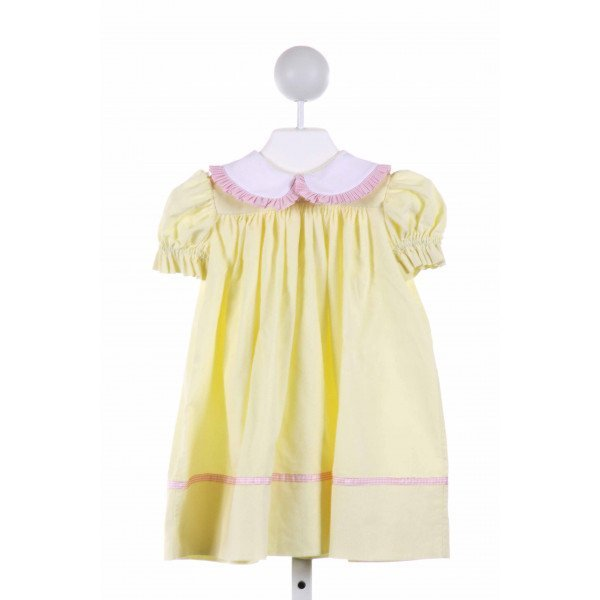 LA JENNS  PALE YELLOW CORDUROY GINGHAM  DRESS WITH RUFFLE