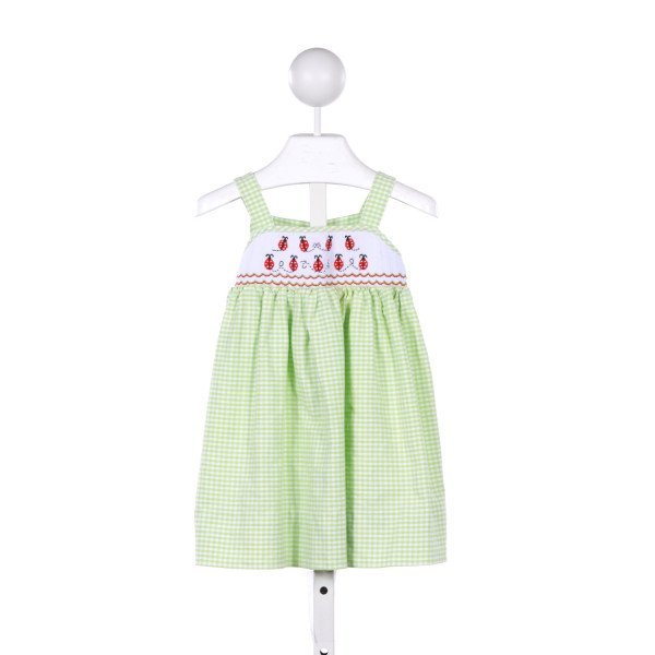 CANDYLAND  LT GREEN  GINGHAM SMOCKED CASUAL DRESS