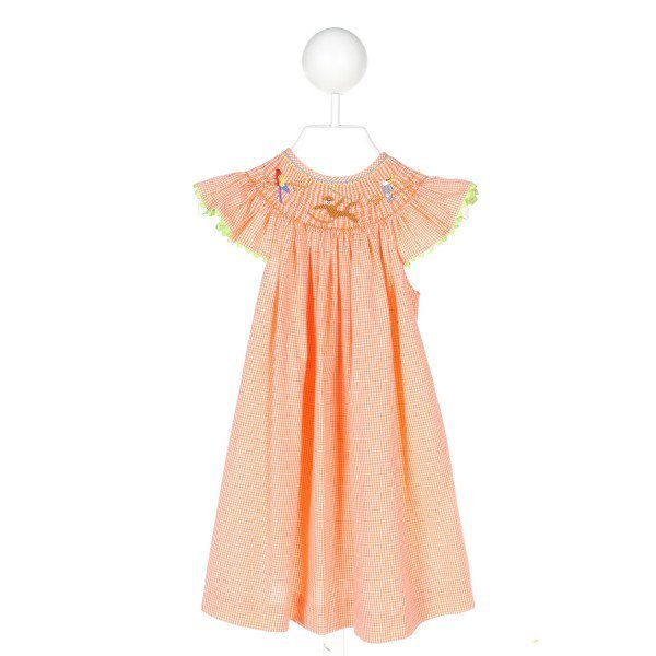MOM & ME  ORANGE  GINGHAM SMOCKED DRESS WITH RIC RAC