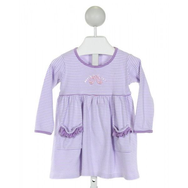 SQUIGGLES  PURPLE  STRIPED EMBROIDERED KNIT DRESS WITH RUFFLE