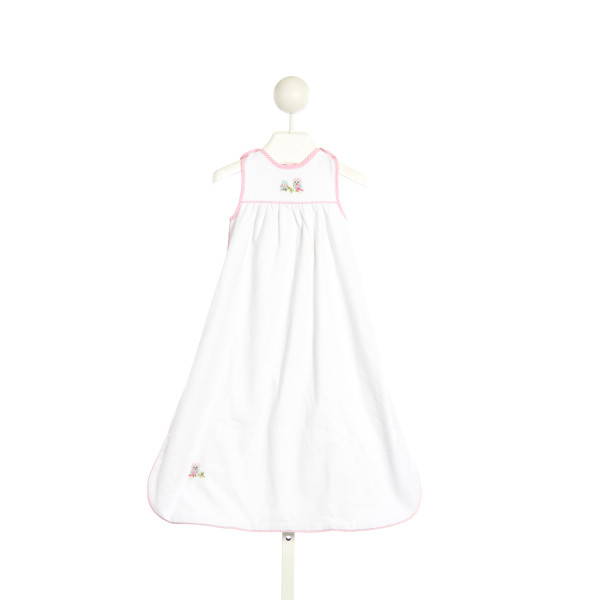 KRSITABEN WHITE SLEEP SACK WITH OWL  AND PINK STRIPED PIPING *SIZE SMALL (3-6M)