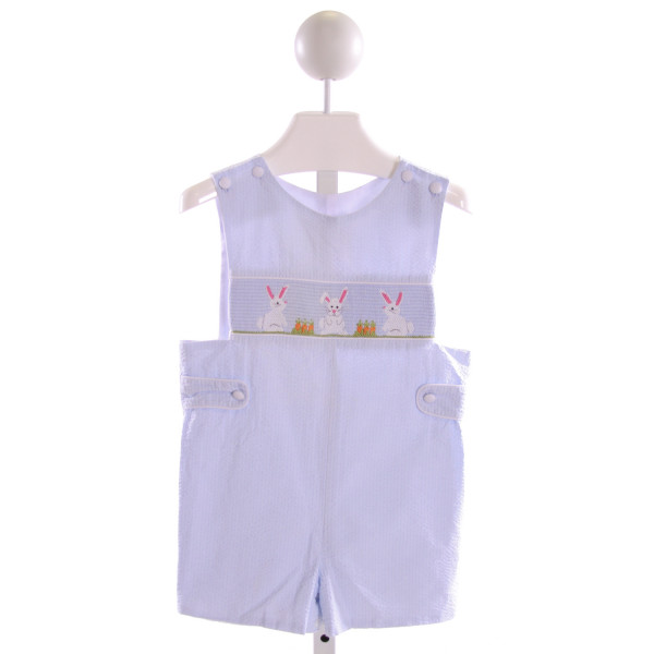 STELLYBELLY  LT BLUE SEERSUCKER STRIPED SMOCKED JOHN JOHN/ SHORTALL
