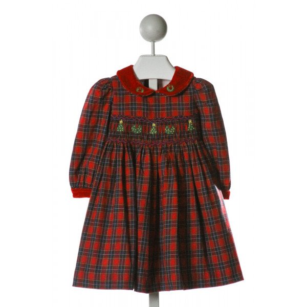 CHIARA  RED  PLAID SMOCKED DRESS