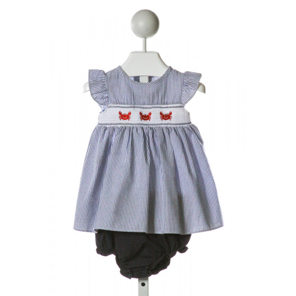 GOODLAD  BLUE SEERSUCKER STRIPED SMOCKED 2-PIECE OUTFIT WITH RUFFLE
