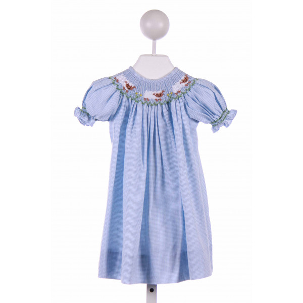 JETTERBUGS  BLUE  GINGHAM SMOCKED CASUAL DRESS