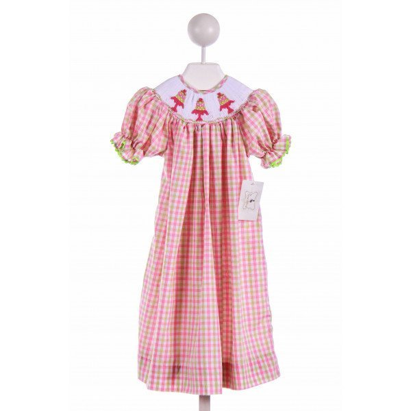 THE SMOCKLING  PINK  PLAID SMOCKED CASUAL DRESS WITH RIC RAC