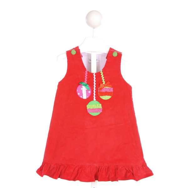 SMOCKINGBIRD  RED CORDUROY  APPLIQUED DRESS WITH RUFFLE