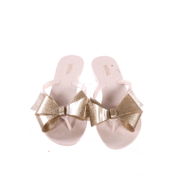 MINI MELISSA IVORY SANDALS WITH GOLD BOW *SIZE 5, EUC
