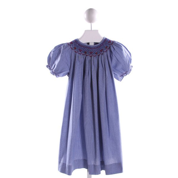 BOW PEEP  BLUE  MICROCHECK SMOCKED DRESS WITH RUFFLE