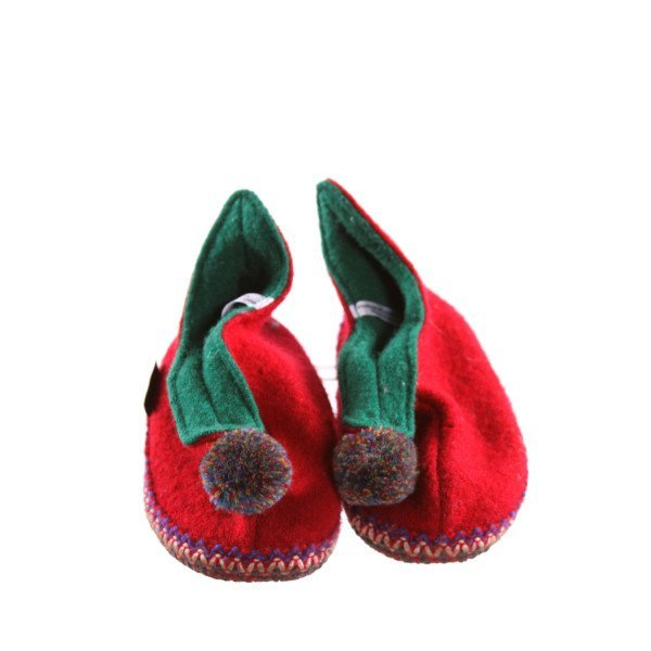 GARNET HILL RED AND GREEN BOOTIES WITH POM-POM *SIZE 10, EUC