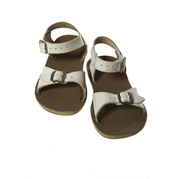 WHITE SUN SANS/ SALTWATER SANDALS *SIZE TODDLER 10, VGU - DISCOLORATION AND LIGHT WEAR