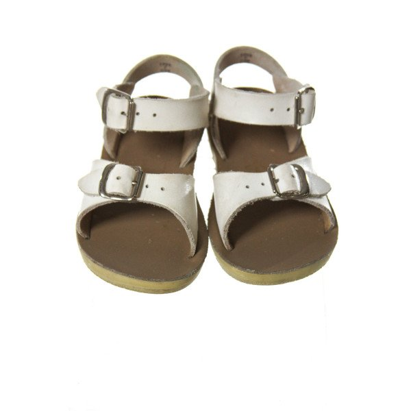 WHITE SUN SANS/ SALTWATER SANDALS *SIZE TODDLER 7, VGU - DISCOLORATION AND LIGHT WEAR