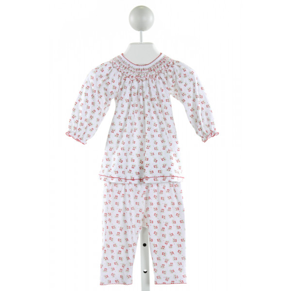 MAGNOLIA BABY  OFF-WHITE  PRINT SMOCKED 2-PIECE OUTFIT WITH PICOT STITCHING