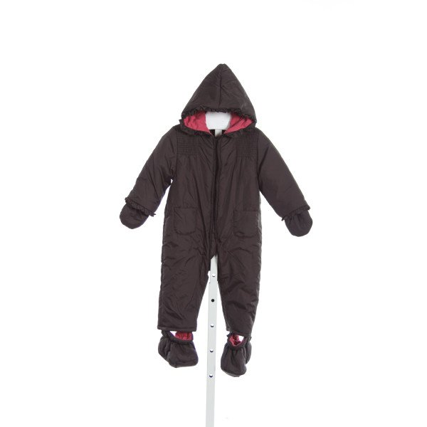 JACADI CHOCOLATE CROWN SNOWSUIT WITH ATTACHABLE MITTENS AND SLIPPERS