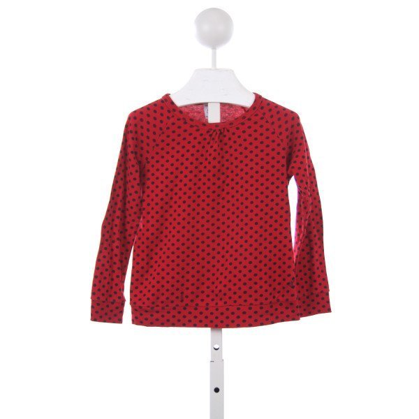 PETIT BATEAU RED AND BLACK POLKA-DOT KNIT TOP