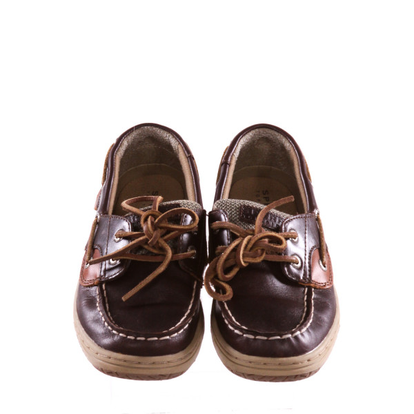 SPERRY BROWN AND KHAKI SHOES *SIZE 2, VGU - SLIGHT SCUFFING AND CREASING