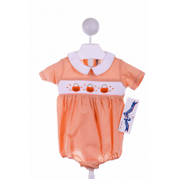 SILLY GOOSE  ORANGE  GINGHAM SMOCKED BUBBLE