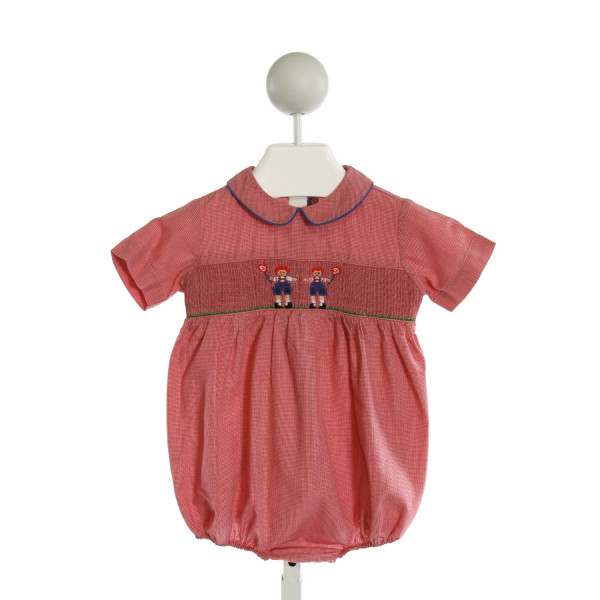 SILLY GOOSE  RED  MICROCHECK SMOCKED BUBBLE