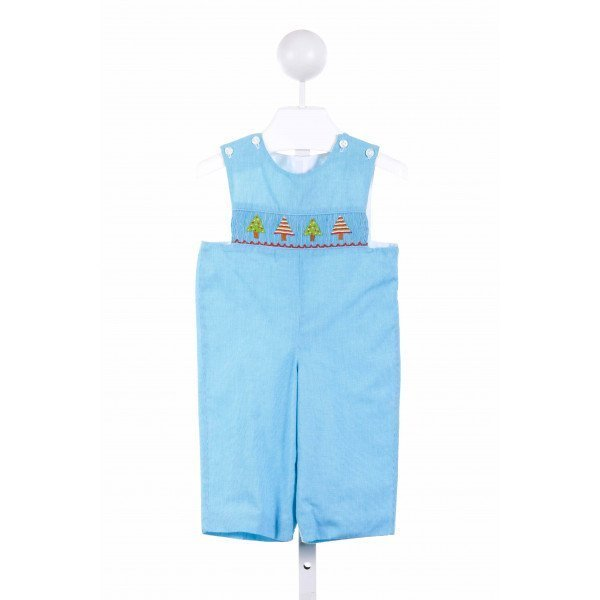 LOLLY WOLLY DOODLE  BLUE  GINGHAM SMOCKED LONGALL/ROMPER