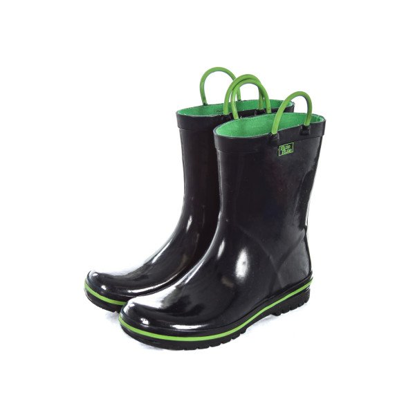 PLUIE PLUIE NAVY RAIN BOOTS WITH GREEN TRIM CHILD SIZE 2