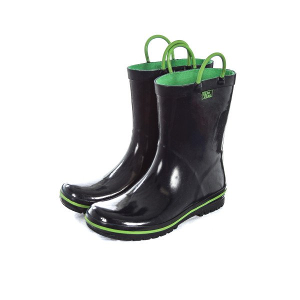PLUIE PLUIE NAVY RAIN BOOTS WITH GREEN TRIM CHILD SIZE 3